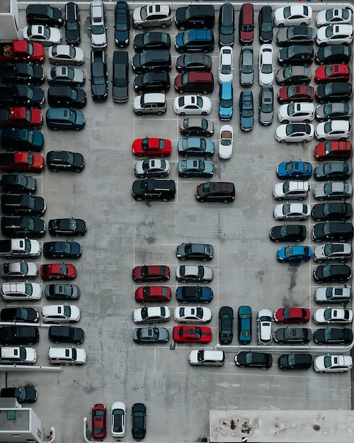 Busy parking lot with potential for accidents
