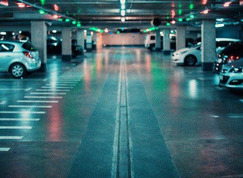 Underground parking lot with lights